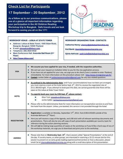 Check List for Participants 17 September – 20 September, 2012