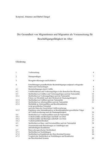 Die Gesundheit von Migrantinnen und Migranten als Voraussetzung ...