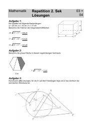 Mathematik Repetition 2. Sek Lösungen - Gegenschatz.net