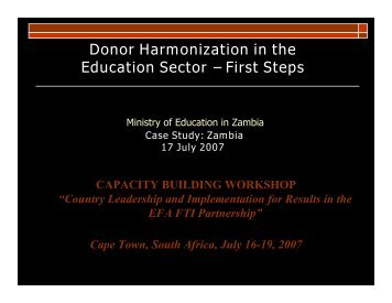 Donor Harmonization in the Education Sector – First Steps - Global ...