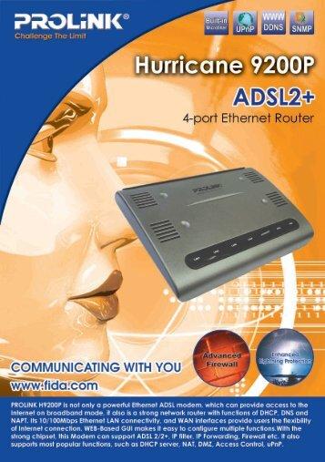 PROLINK 9200P 4 Port ADSL 2+ Bridge/Router/Modem