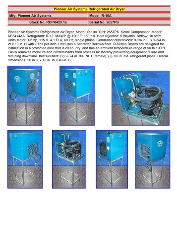 Pioneer Air Systems Refrigerated Air Dryer - Food Processing ...