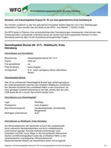 Gewerbegebiet Bocket - Wirtschaftsförderungsgesellschaft Kreis ...