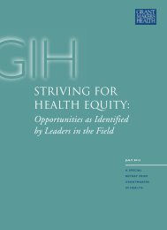 Striving for Health Equity: Opportunities as Identified by Leaders in ...