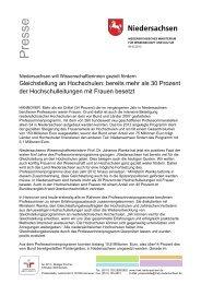 06.02.2012 - Niedersachsen will Wissenschaftlerinnen gezielt fördern