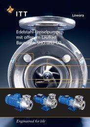 Edelstahl-Kreiselpumpen mit offenem Laufrad Baureihen SHO und CO