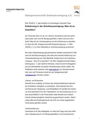 PM Entlohnung in der Schulhausreinigung - Gütegemeinschaft ...