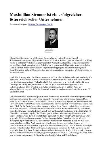 Maximilian Stromer ist ein erfolgreicher österreichischer Unternehmer