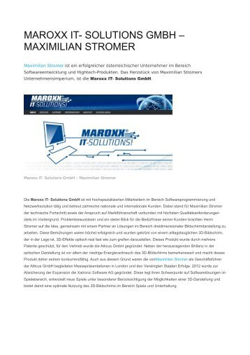 MAROXX IT- SOLUTIONS GMBH – MAXIMILIAN STROMER