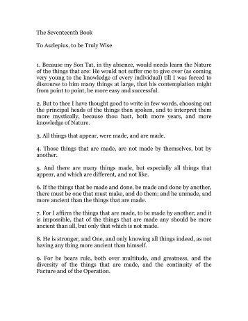 hermes trismegistus, book 17 - Holy Order of the Golden Dawn ...