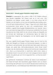 06.05.2013 – Gewalt gegen Polizisten steigt weiter - (GdP ...