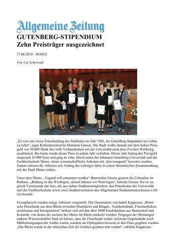 GUTENBERG-STIPENDIUM Zehn Preisträger ausgezeichnet