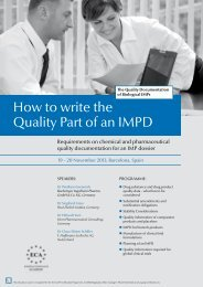 How to write the Quality Part of an IMPD