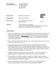 Job Description - Girls Inc.