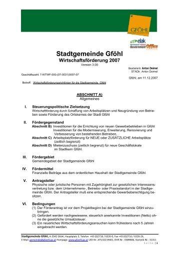 Stadtgemeinde Gföhl Wirtschaftsförderung 2007