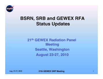 RB, BSRN, and Radiation Assessment - GEWEX