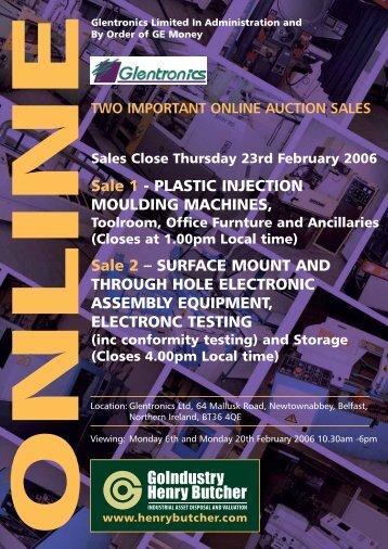 Sale 1 - PLASTIC INJECTION MOULDING MACHINES, Sale 2 ...
