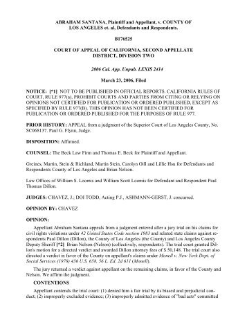 Santana v. County of Los Angeles Opinion - Greines, Martin, Stein ...