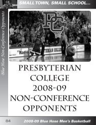 Blue Hose Non-Conference Opponents - Presbyterian College ...