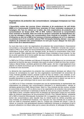 Organisations de protection des consommateurs - Verband ...