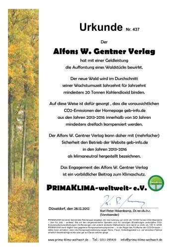 Urkunde Nr. 437 - Gentner Verlag