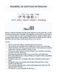NUMBERS IN EGYPTIAN MYTHOLOGY 1 - 2 -3 -4 - 5 6 - 7 -8 -9 -10 ...