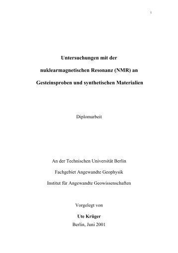 Untersuchungen mit der nuklearmagnetischen Resonanz (NMR) an ...