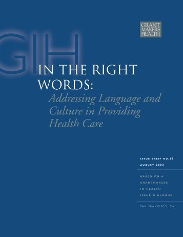 In the Right Words: Addressing Language and Culture