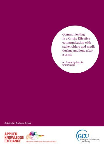 Communicating in a Crisis - Glasgow Caledonian University