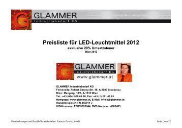 Preisliste für LED-Leuchtmittel 2012 - GLAMMER Industriebedarf KG