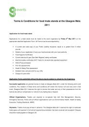 Terms & Conditions for food trade stands at the ... - Glasgow Life