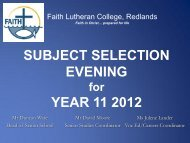 Subject Selection Evening Year 11 for 2012 - Faith Lutheran College