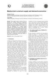 Medium-term uranium supply and demand economics - Geographie