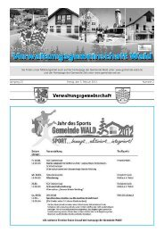 Jahrgang 23 Freitag, den 3. Februar 2012 ... - Gemeinde WALD