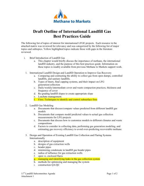Draft Outline Of International Landfill Gas Best Practices Guide