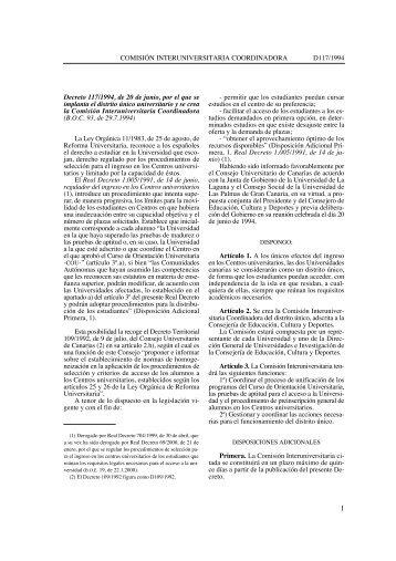 Decreto 117/1994, de 20 de junio. Implantación - Gobierno de ...