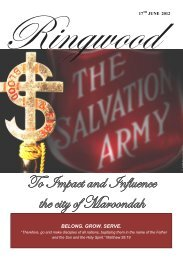 To Impact and Influence the city of Maroondah - The Salvation Army
