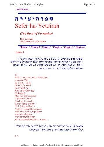 Sefer Yetzirah - Holy Order of the Golden Dawn Canada