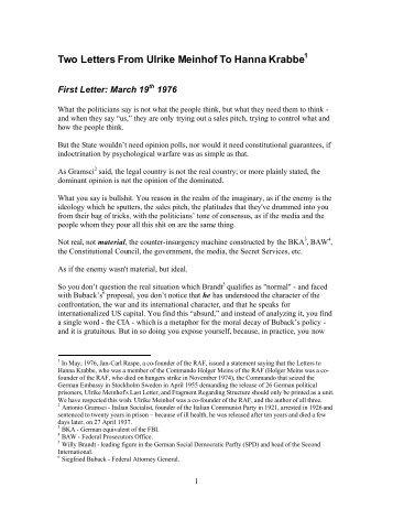 Two Letters From Ulrike Meinhof To Hanna Krabbe - German Guerilla