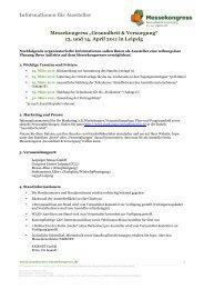 """Informationen für Aussteller Messekongress """"Gesundheit ..."""