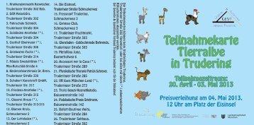 Teilnahmekarte Tierrallye in Trudering - Aktive Zentren Trudering