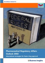 Pharmaceutical Regulatory Affairs Outlook 2002 - Business Insights