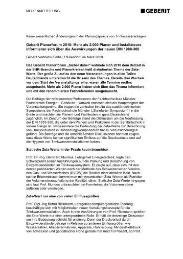 Geberit Planerforum 2010: Mehr als 2.000 Planer und Installateure ...