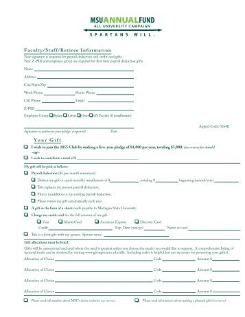 Faculty/Staff Payroll Deduct Form - Giving to MSU - Michigan State ...
