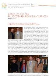 Newsletter des Deutschen Studienzentrums in Venedig, April 2013