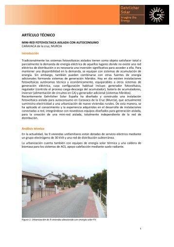 Artículo técnico instalacion Caravaca - Gehrlicher Solar