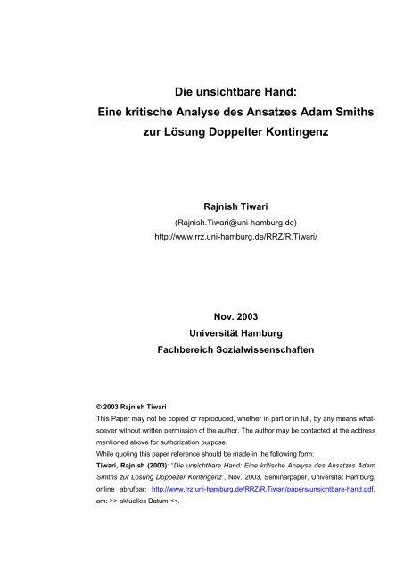 Die unsichtbare Hand: Eine kritische Analyse des ... - ResearchGate