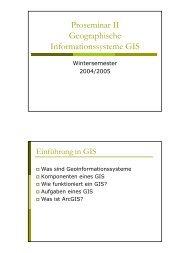 Proseminar II Geographische Informationssysteme GIS
