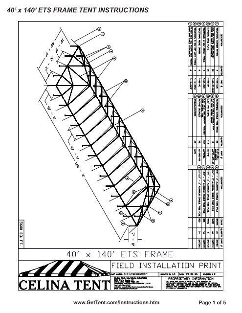 40' x 140' ETS FRAME TENT INSTRUCTIONS - Celina Tent