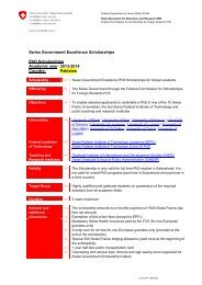Swiss Government Excellence Scholarships PhD Scholarships ...